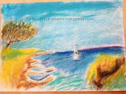 картина пастель морская прогулка