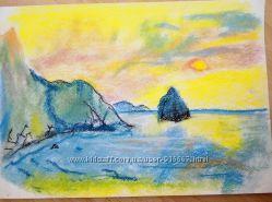 картина пастель восход солнца