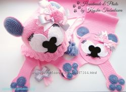 Комплект шапочка шарфик варежки пинетки