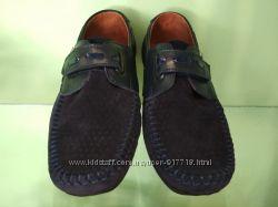 Замшевые синие туфли, мокасины на мальчика