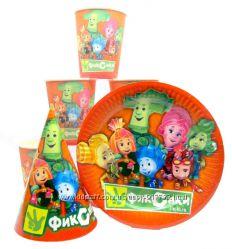 Детская праздничная одноразовая посуда Фиксики оранжевый