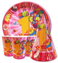 Набор праздничной одноразовой посуды для малышей на 1 год