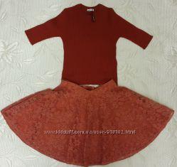 Шикарный комплект Dolce Gabbana, оригинал, кашемировый топ и кружевная юбка