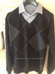 Кофта на мальчика 13-15 лет , воротник - рубашка , идеальна для школы