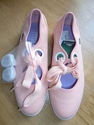Текстильные туфли на шнуровке, топсайдеры Lacostе. 37. оригинал