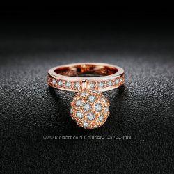 Кольцо с подвеской шарм позолота