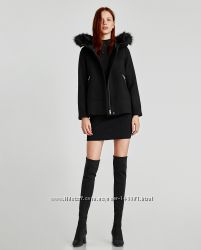 ZARA. Пальто с капюшоном. Оригинал