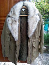 Куртка, парка защитного цвета, 38р 44-46