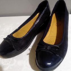 Туфли замшевые синие  лакированная кожа 39р 25.5