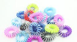Резинка для волос  Пружинка  силиконовая цветная 100 шт. в уп.