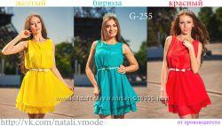 Платье шифоновое с пояском G-255 от Natali vmode