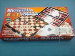 Магнитные наборы 5 в 1 шашки нарды шахматы домино карты супер набор