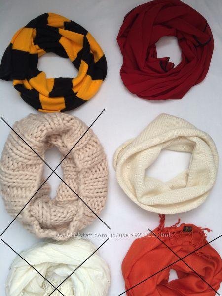 Теплый шарф в клетку, хомут, шапка, палантин, перчатки, платок