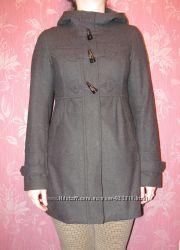Пальто демисезонное с капюшоном, серое, р. S-XS 36 или 42