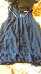 Женская блузка из шифона красивого синего цвета горловинка обшита бусинками