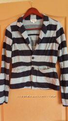 Женский пиджак DIESEL 100хлопок на пуговицах серый в синюю полоску. Супер