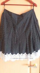Женская юбка на подкладе, 100 хлопок, отделана кружевом ручной работы