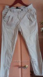 Женские укороченные  брючки 100 хлопок, H&M, светло бежевого цвета, стильненко