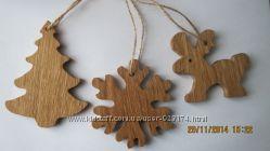 Деревяные елочные украшения игрушки