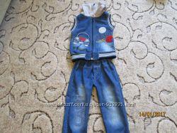 Джинсовый костюм на худенького мальчика на рост 92-98 см