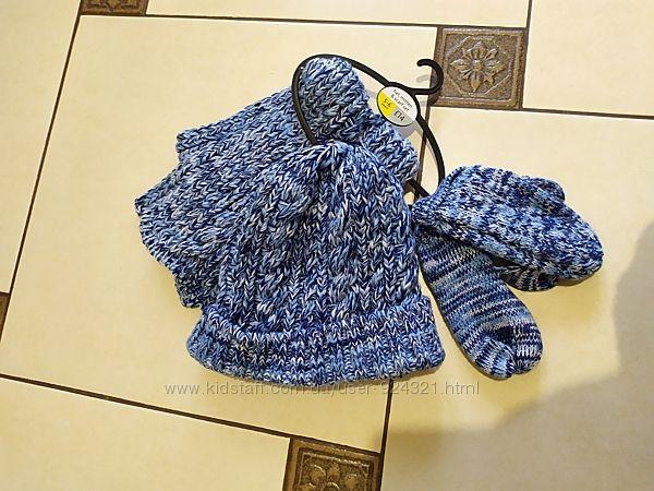 Шапка шарф варежки на 5-6 л