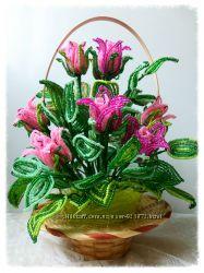 розы  и букеты из бисера