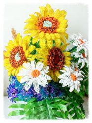 Полевые цветы из бисера
