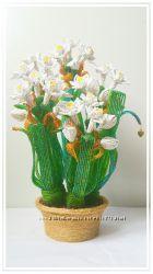 Нарцисс мулицветковый из бисера