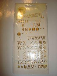 Золотые буквы и цифры-стикеры Henzo