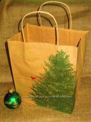 Новогодние пакеты  из крафта с елочкой