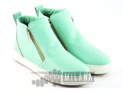 Кожаные ботинки мятного цвета