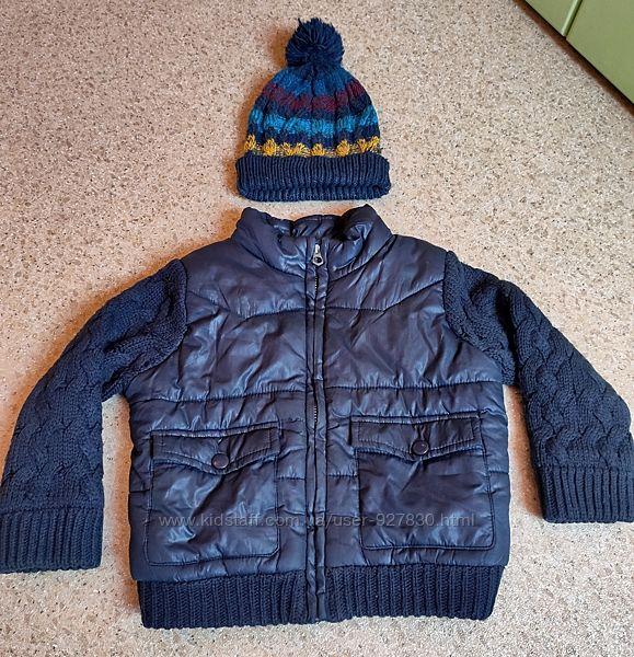Куртка Zara, шапка 24-36 мес, на 2 года