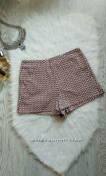 Плотные шорты с высокой талией посадкой и карманами цветные красные белые