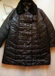 Черная зимняя длинная куртка пуховик пальто теплое батал большой размер мех