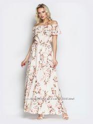 Розовое в цветочный принт длинное в пол платье сарафан с воланами открытыми