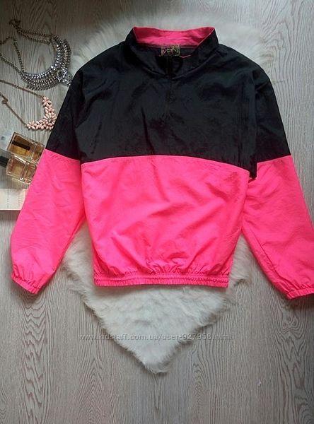 Винтажная яркая куртка ветровка анорак двухцветная черная с розовым батал о