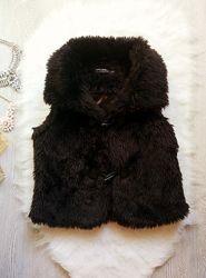 Черная искусственная короткая меховая жилетка накидка теплая безрукавка пуш