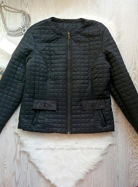 Черная деми стеганая куртка ветровка на молнии батал большой размер коротка
