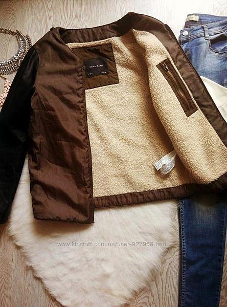 Хаки куртка ветровка поддева на белой овчине с черными кожаными рукавами ше