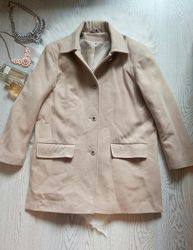 Бежевое бойфренд пальто кашемир с карманами на пуговицах теплое шерстяное