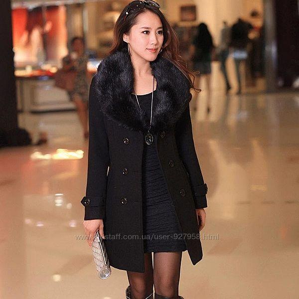 Черное натуральное шерстяное теплое зимнее длинное пальто с густым меховым
