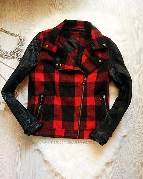Куртка косуха черная в красную клетку кожзам теплая шерсть кожанка короткая
