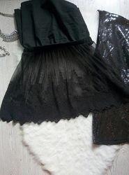 Черная пышная нарядная ажурная юбка короткая мини на резинке снизу набивной