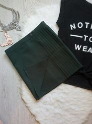 Зеленая темная изумрудная плотная теплая юбка мини плиссе комбинированная