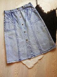 Джинсовая синяя голубая юбка длинная миди трапеция варенка с пуговицами спе