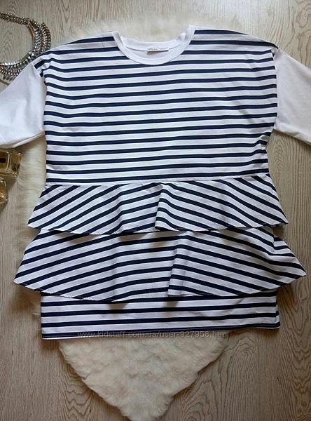 Белая в синюю полоску футболка блуза с рукавами обьемными рюшами туника ове