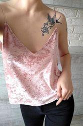 Розовая бархатная майка топ с бретелями блуза в бельевом стиле батал большо