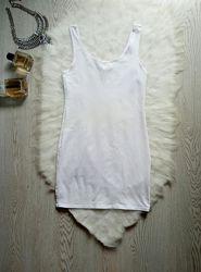 Белая длинная майка туника натуральный хлопок стрейч однотонная H&M