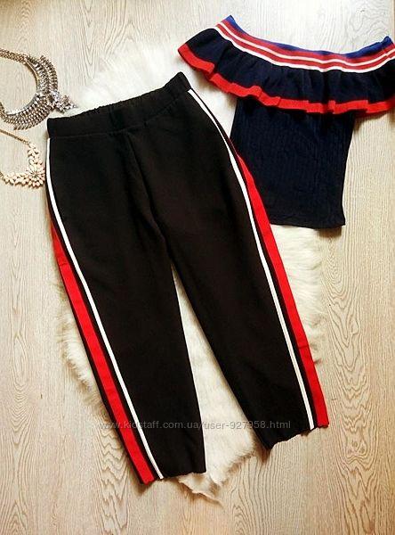 Черные капри штаны укороченные кюлоты шорты c лампасами брюки широкие на ре