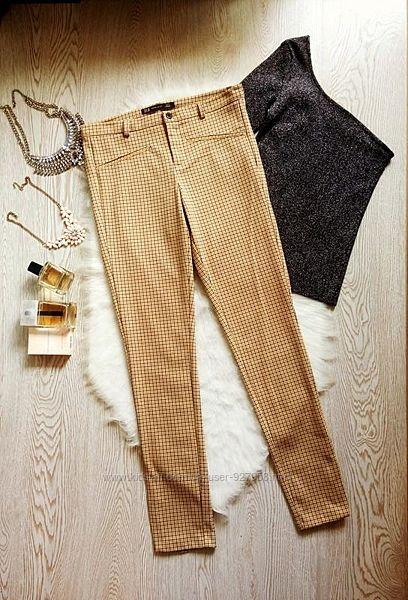 Желтые штаны брюки в клетку от zara высокая талия, стрейч коричневые горчичн